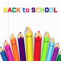 Zurück zu Schule Bildungskonzepthintergrund mit netten Farbbleistiften