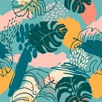 Abstrakt kreativt sömlöst mönster med tropiska växter och konstnärlig bakgrund.