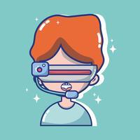 Junge mit Technologie der Gläser 3d zur virtuellen Realität