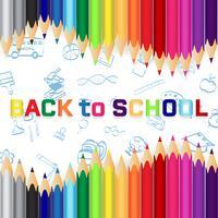 Tillbaka till skolan, Utbildningskoncept bakgrund med söta färgpennor vektor