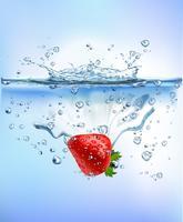 färsk frukt stänk i blå klart vatten stänk hälsosam kost diet friskhet koncept isolerad vit bakgrund. Realistisk Vektorillustration.
