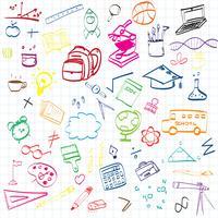 Tillbaka till skolan, Utbildningskoncept bakgrund med linjekonstikoner och symboler vektor
