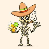 Skalle i den mexicanska Sombrerohatten. Vektor