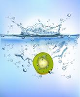 Die frische Frucht, die in blaues klares Wasserspritzen spritzt, lokalisierte gesundes Lebensmitteldiät-Frischekonzept weißen Hintergrund. Realistische Vektor-Illustration.