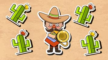 Mexican Musician Vector Illustration Med Män Native Kläder Och Sombrero Flat Vector