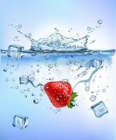 Das Frischgemüse, das Eis in blaues klares Wasserspritzen spritzt, lokalisierte gesundes Lebensmitteldiät-Frischekonzept weißen Hintergrund. Realistische Vektor-Illustration.