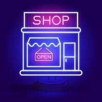 Jetzt einkaufen Leuchtreklame. Bereit für Ihr Design, Grußkarte, Banner. Vektor