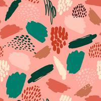 Abstrakt konstnärligt sömlöst mönster med trendiga handdragen texturer vektor