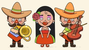 Mexikanische Musiker-Vektor-Illustration mit zwei Männern und einer Frau mit Gitarren in der gebürtigen Kleidung und im Sombrero-flachen Vektor