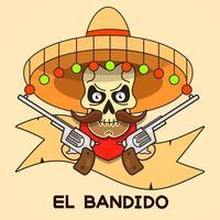 Wild West Skull Bandit Med Pistols Vector