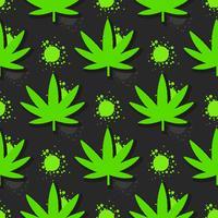 Marijuana lämnar sömlöst mönster. Handritad illustration.