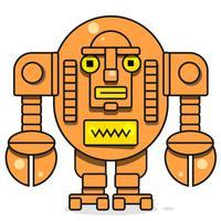 Bot Icon. Chatbot Icon Concept. Söt leende robot. Vektor Modern Line Karaktär Isolerad På Vit Bakgrund. Outline Robot Sign Design.