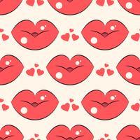 Läppar mönster. Vektor sömlösa mönster med kvinnans röda kyssande platta läppar.