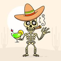 Schädel im mexikanischen Sombrero-Hut. Vektor
