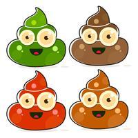 Set med Cartoon Brown Poop Variations.