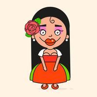 Mexikanische Cartoon-Frau, bereit für Ihr Design, Grußkarte, Banner. Vektor