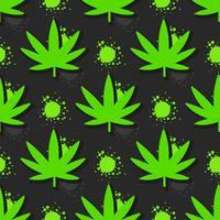 Marihuana verlässt nahtloses Muster. Hand gezeichnete Illustration.