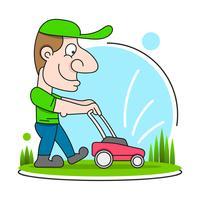 Illustration av en trädgårdsmästare som bär hatt och overaller med gräsklippare klippa gräsmatta sett från fronten på isolerad
