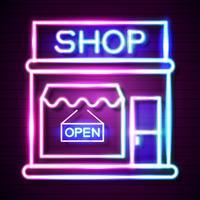 Köp nu Neon Sign. Klar för din design, hälsningskort, banner. Vektor