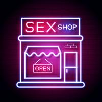 Sex Shop Nu Neon Sign. Klar för din design, hälsningskort, banner. Vektor
