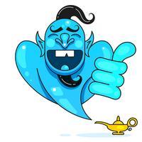 Lampe Aladdin mit Gin, die magische Lampe von Aladdin. Bereit für Ihr Design, Grußkarte, Banner. Vektor