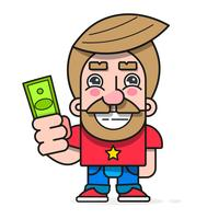 Köparen med pengar i handen, vill köpa varor vektorgrafik redo för din design, hälsningskort vektor