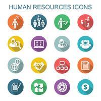 mänskliga resurser långa skuggikoner vektor