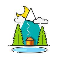 Blockhaus im Wald-Vektor-Ikone bereit zu Ihrem Design, Gruß-Karte