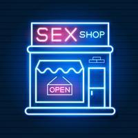 Sex Shop Now Leuchtreklame. Bereit für Ihr Design, Grußkarte, Banner. Vektor