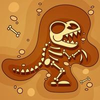 Archäologie. Dinosaurier-Skelett im Boden. Ausgrabungen von Dinosaurierknochen. Archäologische Werkzeuge. Vektor