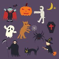 halloween doodle tecknad film vektor