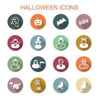 halloween lång skugg ikoner vektor