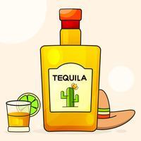Mexikansk bakgrund med en dekorativ flaska Tequila. Fancy Tequila Name Added. Mall för hälsningskort, inbjudan eller affisch. Vektor