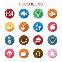 mat lång skugg ikoner vektor