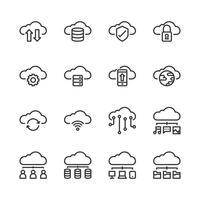 Wolkentechnologie-Ikonensatz Auch im corel abgehobenen Betrag vektor