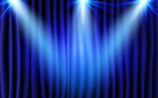 Blauer Vorhang-Theater-Szenen-Stadiums-Hintergrund. Abstrakter Hintergrund mit Luxusseidensamt und Studioleuchten für Preisverleihung. Scheinwerfer leuchten.