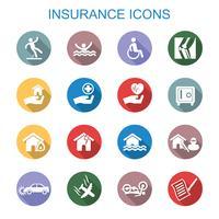 försäkring långa skugg ikoner vektor