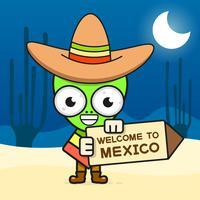 Karikatur-mexikanische Schädel-Vektor-Illustration für Dia De Los Muertos. Netter männlicher Schädel