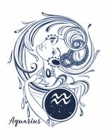 Zodiac sign Aquarius en vacker tjej. Horoskop. Astrologi. Vektor.