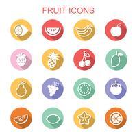 frukt långa skugg ikoner vektor