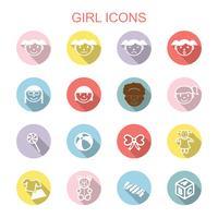 flicka långa skugg ikoner