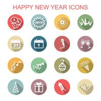 Frohes neues Jahr lange Schatten Symbole