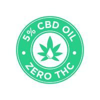 5 perccent CBD Oil icon. Noll THC.