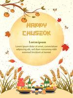 Chuseok-Fahnendesign Persimonebaum auf Vollmondansichthintergrund.
