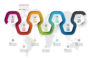 Pentagon Label mit farbigen Linien verknüpften Infografiken.