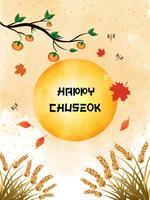 Chuseok banner design.persimmon träd på fullmånen bakgrund.