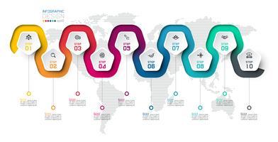 Pentagon-etikett med färglinje kopplade infographics.
