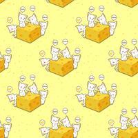 Nahtloses kawaii Katzen- und Käsemuster
