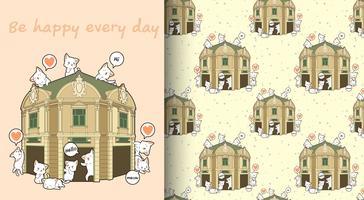 Nahtlose kawaii Katzen mit dem Muster des historischen Gebäudes