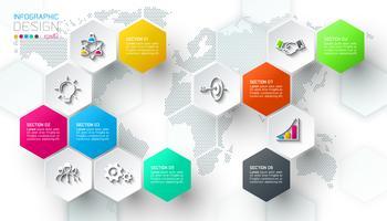 Business hexagon net etiketter form infographic bar.